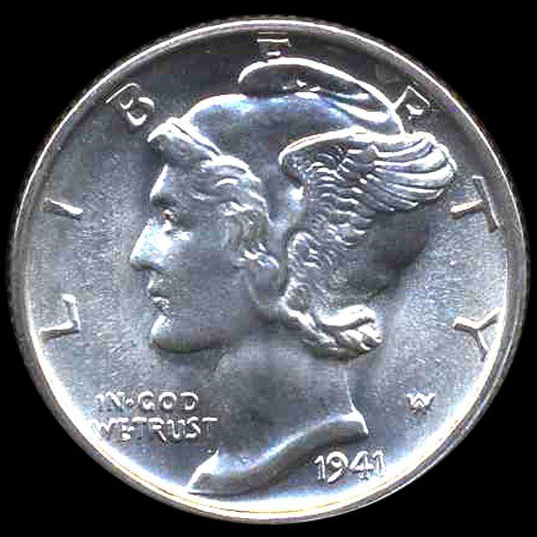 19: 1941S Mercury Dime Gem MS67 FB