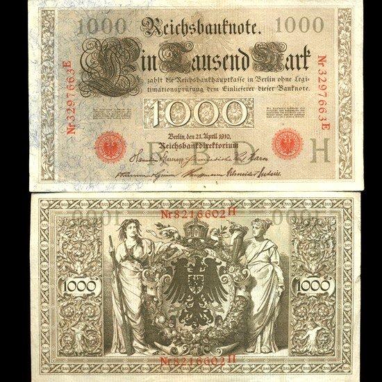 8: 1910 Germany 1000 Mark Note Hi Grade