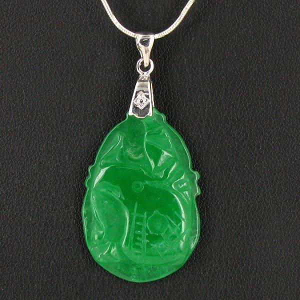 14: 30ct Green Jade Elephant Pendant