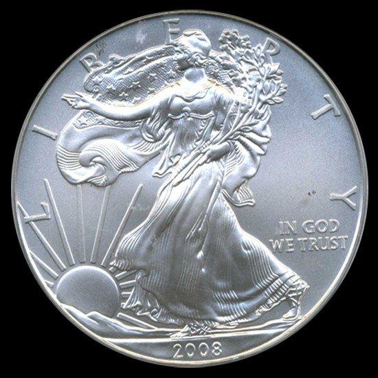 838: 2008 Silver Eagle Graded GEM MS70