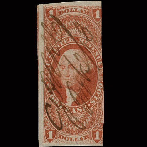 9: 1860s US Revenue Stamp $1 Imperf Lease