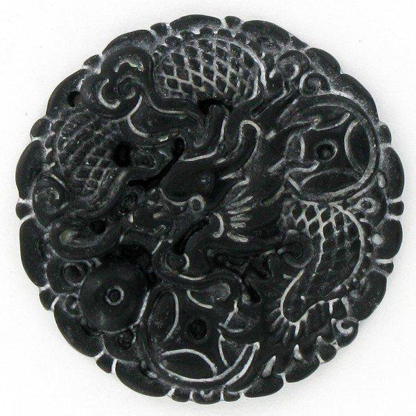 15: Chinese Handcarved Vintage Black Jade Dragon