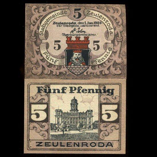 20: 1921 Germany Zeulenroda 5 Pfg Crisp Unc Note