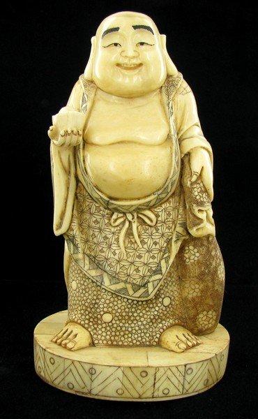 2552: Chinese Handcarved Bone Standing Buddha on Base