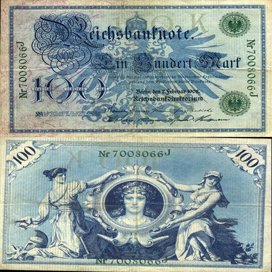 7: 1908 Germany 100 Mk Note Hi Grade Rare Green Ser#