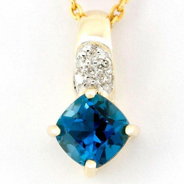 14: 1.14ct London Bl Topaz Diamond 9k Gold Pendant