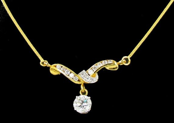 16: 30twc Lab Diamond 22k Gold Vermeil Necklace
