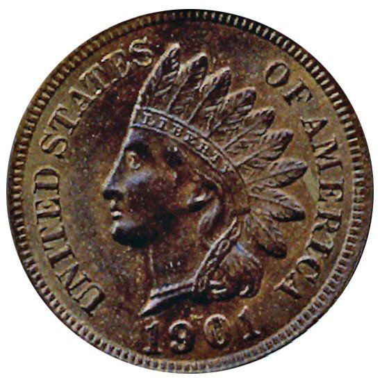 2048: 1901 Indian Cent Uncirculated MS66+ RB