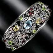 291: 199twc Top Colors Multigem Sterling Cuff Bracelet