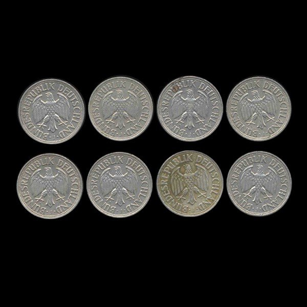 534: 1967J Germany 1 Mark Hi Grade Scarce 8 Pcs