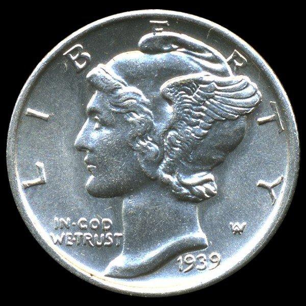 154: 1939S Mercury Dime MS65+ FB ERROR