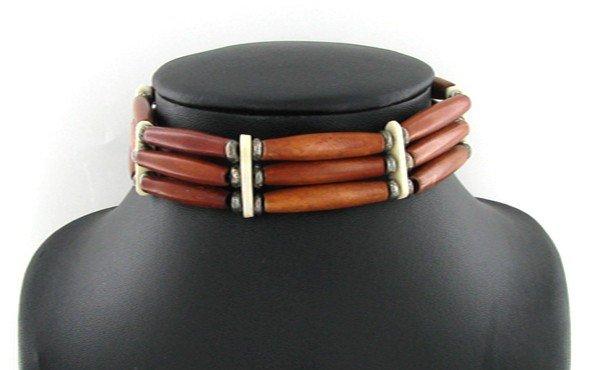 9A: Handcraft Amer Indian Bone/Wood Choker Necklace EST