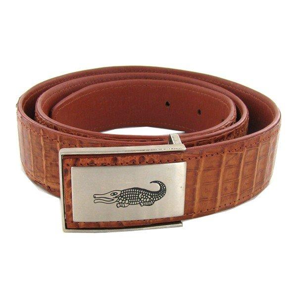 "6B: Brown Crocodile Belt 47"" New"