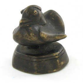 Duck Opium Weight Early 1900s Bronze