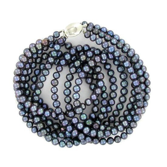 7: Black Saltwater Pearl Three Strand Necklace EST: $66