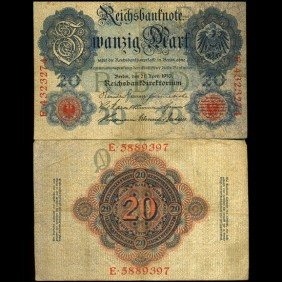1910 Germany 20 Mark Note Hi Grade EST: $15 - $30 (
