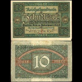 1920 Germany 10 Mark High Grade Note EST: $12 - $24