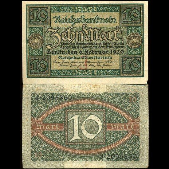 29: 1920 Germany 10 Mark High Grade Note EST: $12 - $24