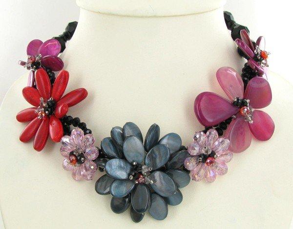 36: 925ct MOP Coral & Crystal Necklace EST: $180 - $360