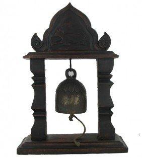 Vintage Thai Temple Bell On Elaborate Teak Stand ES