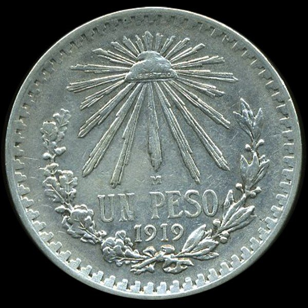 376: 1919 Mexico 1P AU RARE EST: $450 - $900 (COI-10108