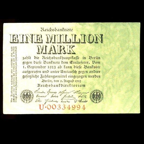 8: 1923 Germany 1m Mark Note Hi Grade EST: $15 - $30 (C