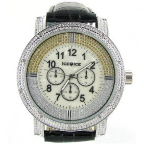 New Ice Time Mens Diamond Bezel Chrono Style Watch