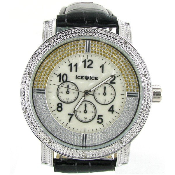 10: New Ice Time Mens Diamond Bezel Chrono Style Watch