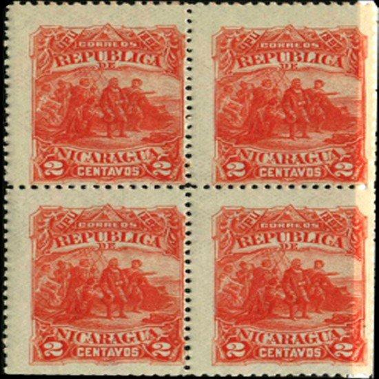 12: 1892 Nicaragua 2c UPU Block of 4 EST: $18 - $36 (ST