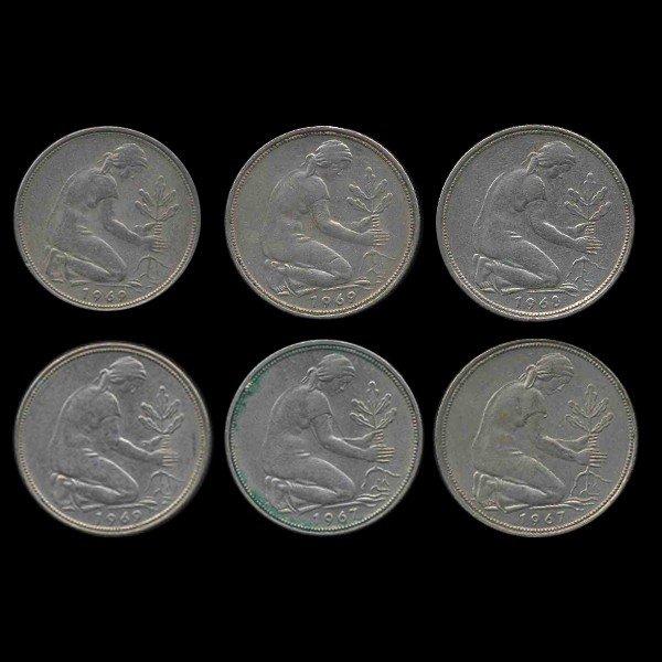 18: 1962-69 Germany 50 Pfg Hi Grade Scarce 6 Pcs EST: $
