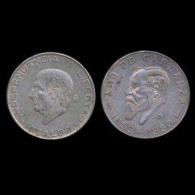1955-59 Mexico 5 Peso 2pcs AU EST: $165 - $330 (COI