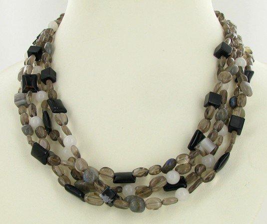 92: 600twc Smoky Quartz Agate Bead Necklace EST: $165 -