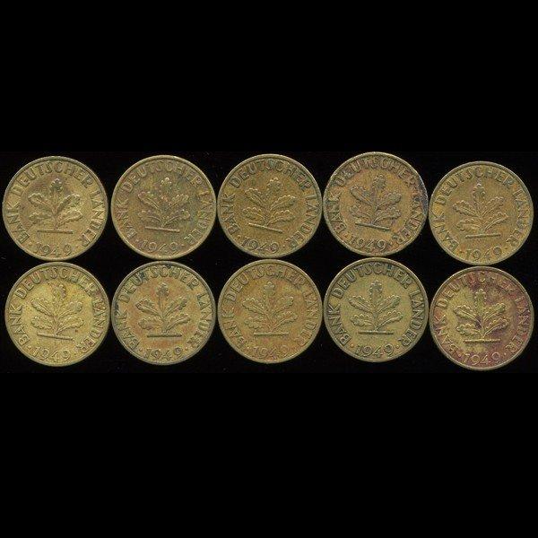 105: 1949 Germany 5pf VF/AU 10Pcs EST: $120 - $240 (COI