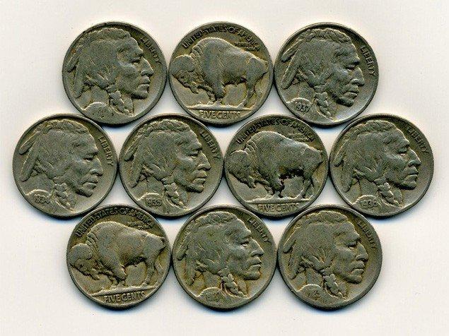 107: 10 US Buffalo Nickel Coin Lot EST: $36 - $72 (COI-