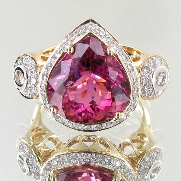 1940: 10.03ct Hot Pink Cuprian Tourmaline Diamond 14k R