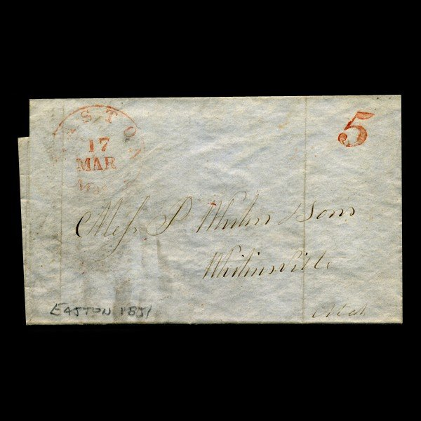 10A: 1851 Easton MA Stampless Cover SCARCE