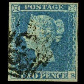 1849 GB 2p Blue Stamp W/Nice Cancel Super Margins