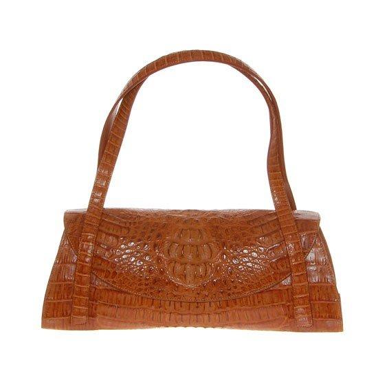 2785A: Ladies Brown Crocodile Hide Skin Handbag