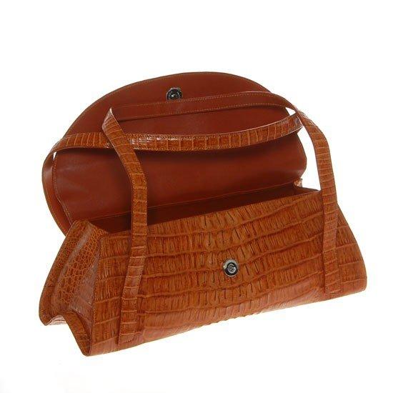 2785A: Ladies Brown Crocodile Hide Skin Handbag - 2
