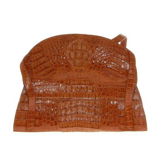 2785A: Ladies Brown Crocodile Hide Skin Handbag - 3