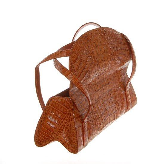 2785A: Ladies Brown Crocodile Hide Skin Handbag - 4