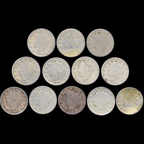 21: 1895 Liberty 5c Circulated Mini Roll 13Pcs