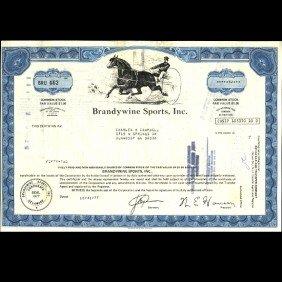 1970s Brandwine Sports Stock Certif Horse Style