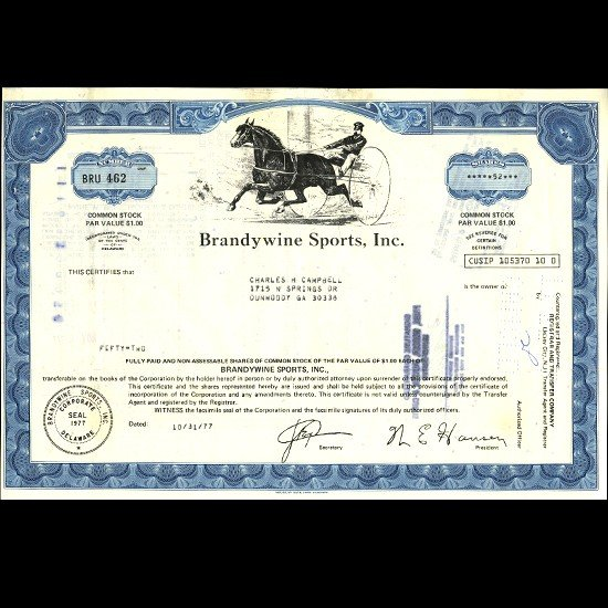 24: 1970s Brandwine Sports Stock Certif Horse Style