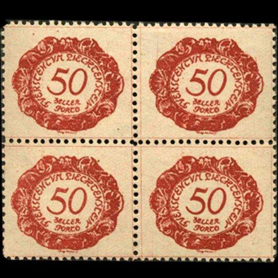 34: 1920 Liechtenstein 50h Postage Due 4 Block Error