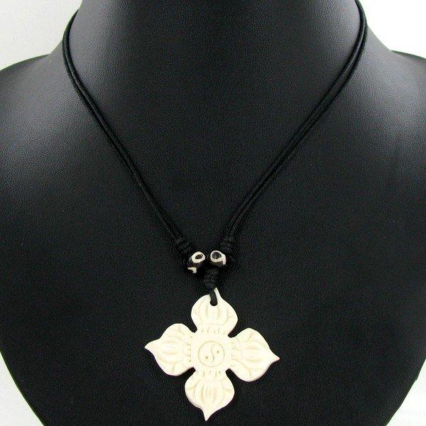 2318: Tibet Bone Agate Bead Choker Necklace - 2