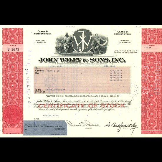 6: 1990s John Wiley & Sons Stock Certificate Scarce Red