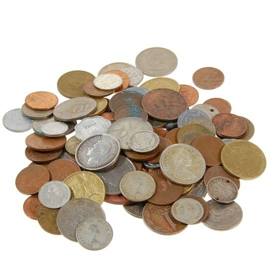 58: Lot of 100 Mixed Foreign Coins