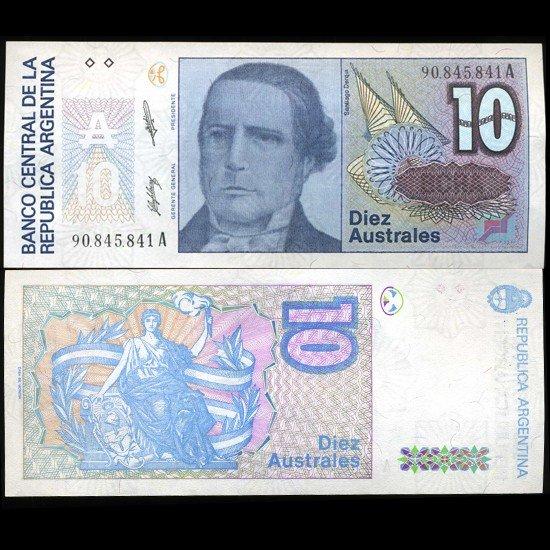 62: 1989 Argentina 10 Australes Note Crisp Unc