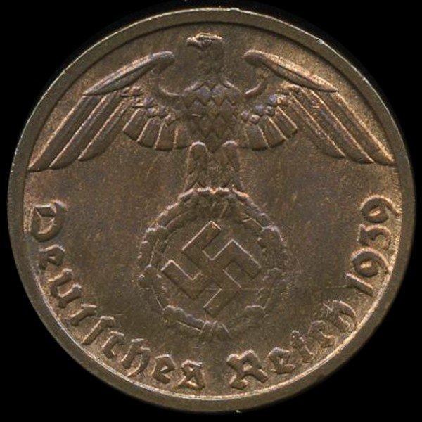 67: 1939D Germany 1pf MS65+